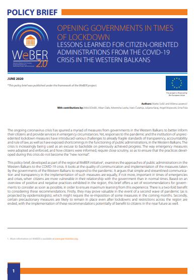 governments, WeBER2.0, WeBER, Western Balkans